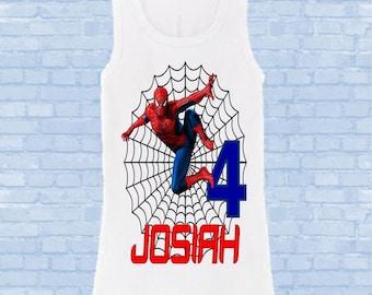 Spiderman Birthday Shirt - Spider man Boy's Shirt - Tank Top