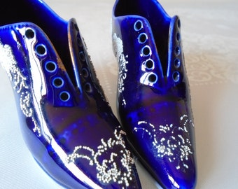 unusual ceramic shoes cobalt blue porcelain x 2 french influence