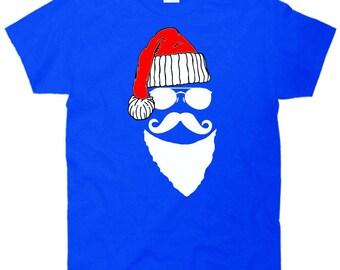 Santa Clause Mustache Face T-Shirt