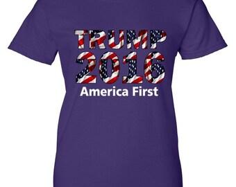 Women's T-Shirt: Trump 2016 America First