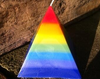 Rainbow/Chakra Pyramid Candle