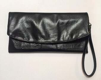 The Clutch Purse - Black Leather