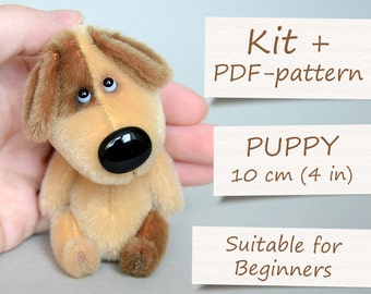 """Complete Sewing Kit """"Miniature Puppy"""" by ABCbears (10 cm / 4 in). Teddy Toy E-Pattern Included"""