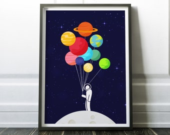 Lonely Astronaut Print - Solar System Print - Astronaut Poster, Planets Print, Retro Wall Art for Home Decor, Office Decor