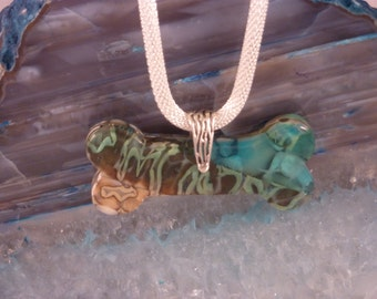 Bone Shaped Turquoise, Brown and Tan Fused Glass Pendant
