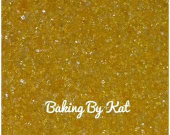 Yellow 4 oz Decorating Edible Sugar Crystals. Party Supplies, Cupcakes, Cookies, Cake,  Ice Cream.