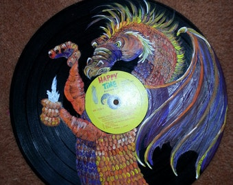 MosshGlad Dragon painting on Vynal records
