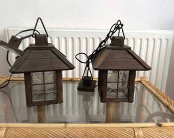 Old wooden lanterns with glass panels