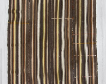 "5'5""x13'5"" (165x410cm) Vintage decorative handwoven striped Turkish kilim area rug,FREE SHİPPİNG"