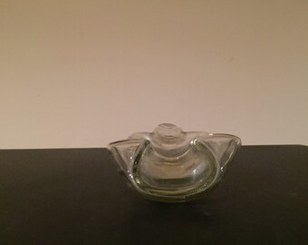 Beautiful winged covered clear glass bowl