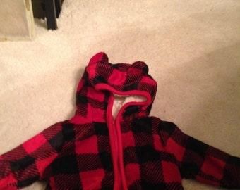 Super cute north woods newborn lumberjack jacket with ears