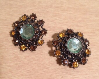 2 vintage gold/green buttons