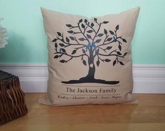 Family Tree Pillow - Family Tree Decor - Tree Pillow - Custom Pillow - Custom Family Pillow - Family Name Pillow - Custom Anniversary Gift