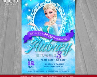 Frozen Birthday Invitation - Elsa Frozen Invitation Printable - Disney Frozen Invitation - Disney Frozen Party Invites Elsa Snow Queen