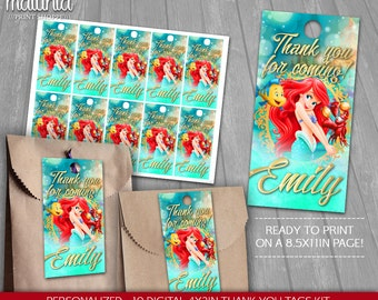 Little Mermaid Thank You Tags Printable - PERSONALIZED - Disney Princess Ariel Birthday Party tags - The Little Mermaid Birthday Labels