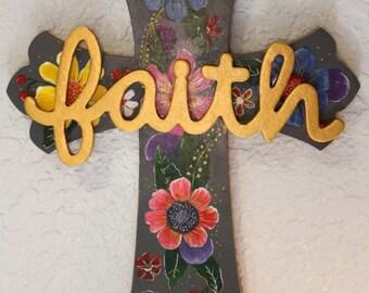 Floral Wall Cross, Faith Cross