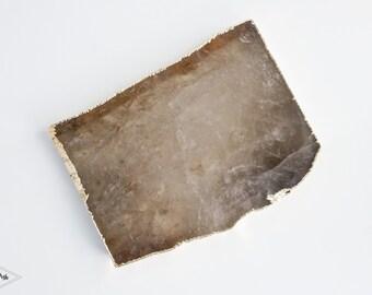 QG07 SMOKY Quartz platter with GOLD rim. Large gemstone trivet. gray quartz cheese plate home decor serveware. grey crystal thin platter