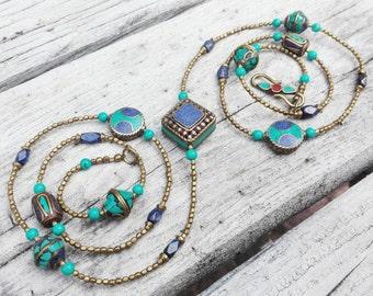 Nepali necklace lapis lazuli and turquoise
