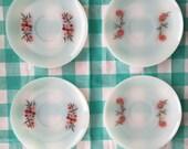 Sale--4 fire king milk glass primrose fluerette saucer plates