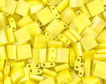 Tila Bead- Matte Op Yellow AB  #404FR  Miyuki Tila Beads - 10 grams