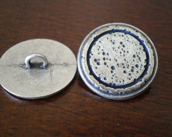Metal Buttons with Shank Round Antique Silver Closure Sandblast Jewelry Making Supplies DIY Beading Supplies Moon Surface 20mm - 3 Pieces