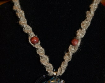Glass Elephant Hemp Necklace