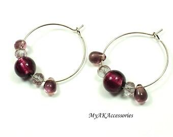 Amethyst earrings - small hoop earrings - beaded hoop earrings - boho earrings - boho earrings - casual jewelry - bohemian earrings - gift