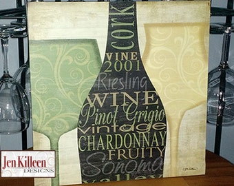 Wine Wall Decor White Wine Wine Wood Sign Chardonnay Wine Silhouette