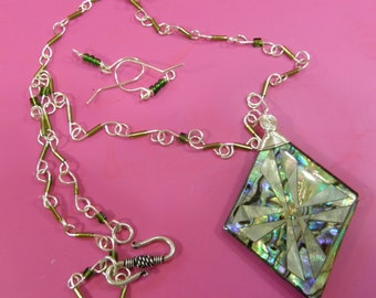 Multi-Colored Mother of Pearl Pendant with Wire Wrapped Chain and Earrings