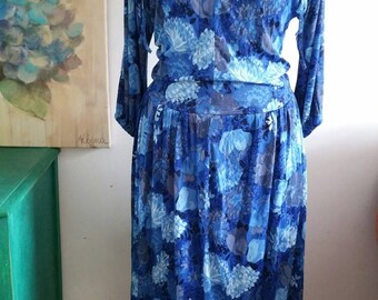 Blue Floaty Floral 1970s Wilbor Dress 10-12