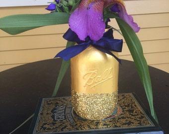 Gold Sparkly Upcycled Mason Jar