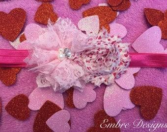 Valentines day headband  baby headband toddler headband - 16 inch headband- holiday headband- heart headband- photo prop- baby photo prop