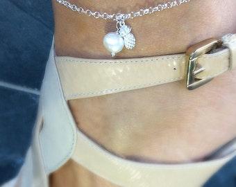 Silver Ankle Bracelet, anklet, pineapple, starfish, Freshwater Pearl, beach jewellery, ankle bracelet