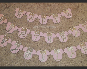 Pink and gold Minnie mouse birthday banner
