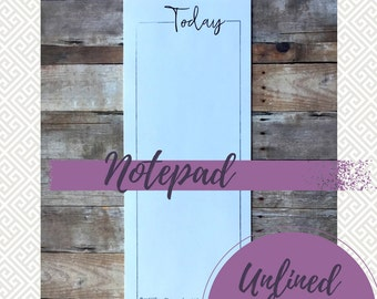To Do List Notepad, Unlined Notepad, Today, Long Notepad, 50 Page Notepad, Black and White Stationery, Black and White Pad