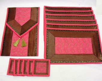 Pink Color Indian Silk Brocade Table Runner with Placemat 6 and Coaster 6 Size 16x62