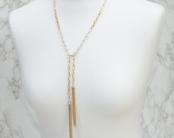 Gold Tassel Necklace Statement Glass Beads   50% OFF