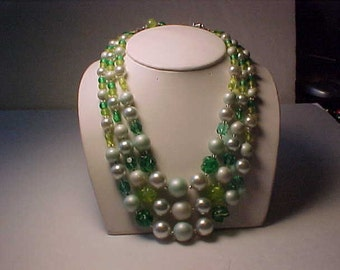Vintage Japan 3 Strand Bead Necklace Glass Clear Green and other colors