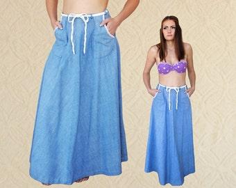 70's Chambray High-Waisted Maxi Wrap Skirt | Boho Wrap Skirt M/L