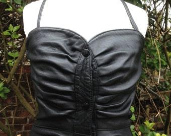 Gorgeous Black Leather Dress With Halterneck Tie & Press Stud Fastening  -  Genel Of London -  UK Size 8 - Made in England - Goth/Biker/Vamp
