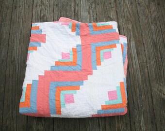 Vintage Handmade Quilt Log Cabin // Antique Quilt Top // Lightweight Spring Quilt // Pink, Blue, Sherbert