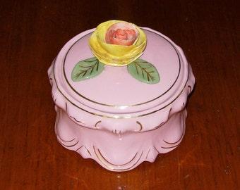 Antique Ceramic Container Gold Trim Vintage Decorative Vanity Container 1930's