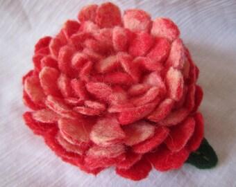 30% DISCOUNTS, Pink felted flower brooch, Pink peony, Handmade flower