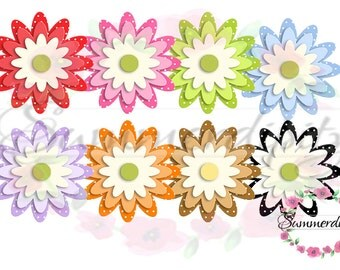 Dotted Flowers Clipart