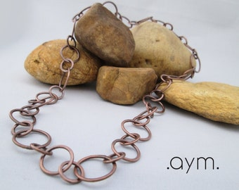 copper chain necklace, hand forged hammered copper, artisan, patina, earthy, antique copper, gift for her, 7th anniversary gift, wife gift