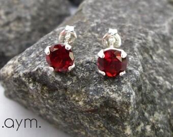 6mm garnet stud earrings, red garnet sterling silver post earrings, gemstone studs, January birthstone, 2nd anniversary gift for her, wife