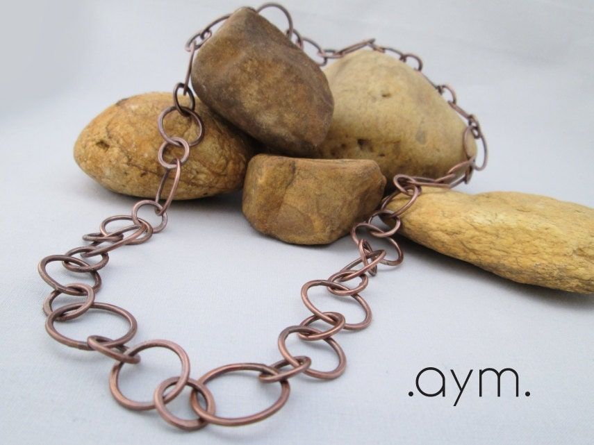 Antique Hand Forged Chain : Copper chain necklace hand forged hammered artisan