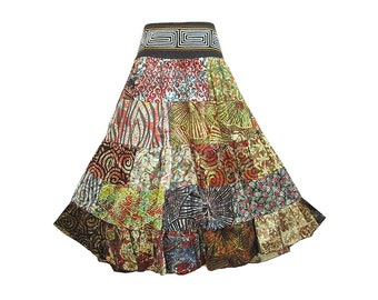 Boho Hippie Cotton Patchwork 5-Tier Broomstick Skirt  (M0680P)