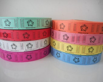 Star Raffle Tickets, Various Colors and Quantities