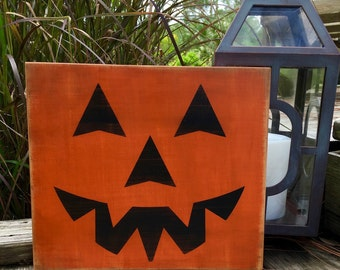Halloween Sign,Halloween Decoration,Jack O Lantern,Halloween Party Decor,Fall Signs,Trick or Treat Sign,No Carve Pumpkin,Scary Halloween